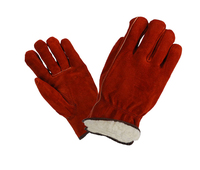 Fur lined Cow hide split leather driver gloves