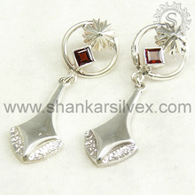 Awesome Collection Of Red Garnet 925 Sterling Silver Earring Handmade Silver Jewelry Wholesaler