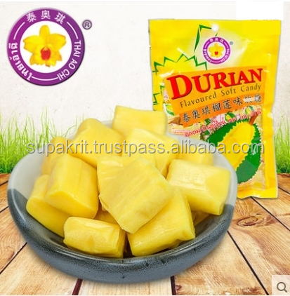 DURIAN SOFT CANDY : THAI AO CHI BRAND : MADE IN THAILAND : Durian candy .