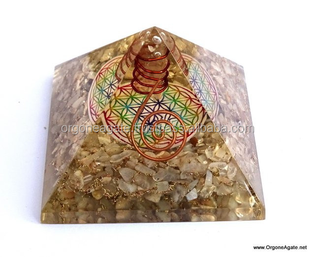 Big Orgonite MoonStone Pyramid With Flower Of Life Symbol And Crystal Point