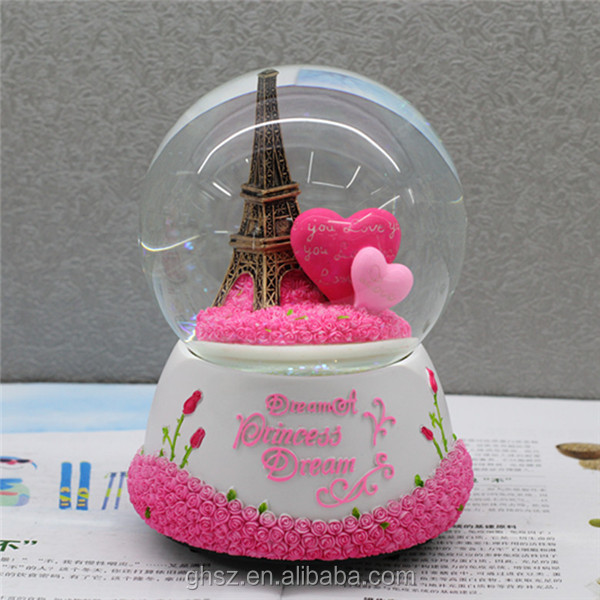 valentine's day polyresin lover romantic musical electric snow globes
