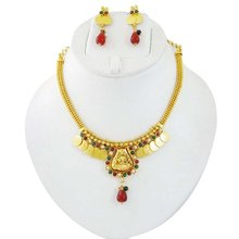 South Indian Jewellery Goddess Lakshmi Coin Necklace Set Traditional Jewellery Sets Gift For Her -BNS6164