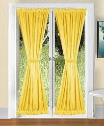 "Pair Of Golden Yellow French Door Curtains 70"" Long - 2 Panels 40"""