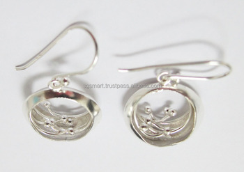 Silver 925 Earring Wire Flower Design Jewelry Wholesale Factory Thailand