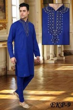 Mens embroidery kurta pajama with designs in blue colour