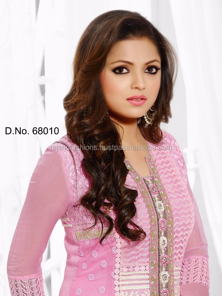 Baby pink color with silver pink stone & Anarkali Designer Semi-Stitch Salwar Kameez