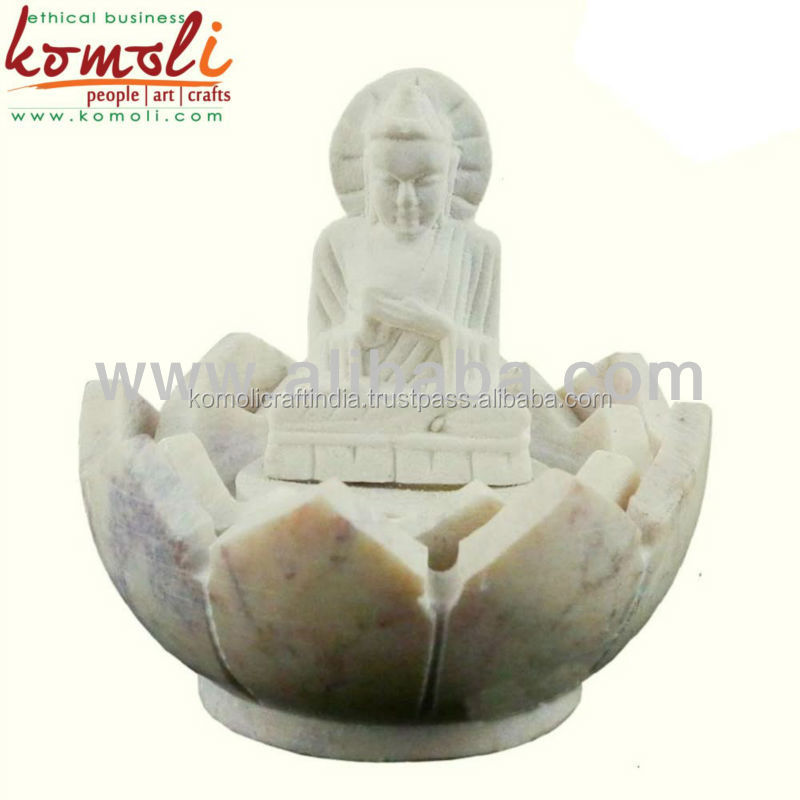 Miniature mini stone gautam buddha statue on lotus incense holder