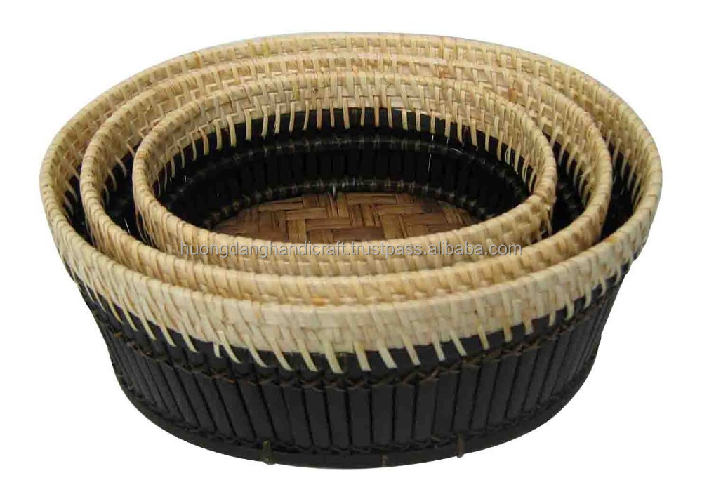 Hot selling set of 3 black bamboo baskets, fruit and vegetable basket for serving