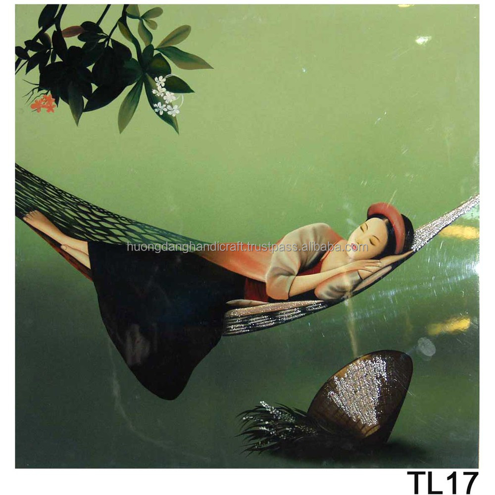 Girl sleeping on hammock Lacquer Handmade Paintings, Wall Art Lacquer Paintings