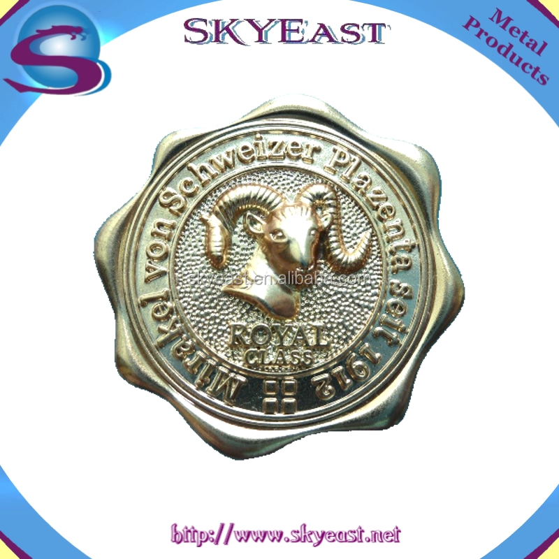 High Technical Realistic 3D Raised Goat Branded Metal Logo Plate