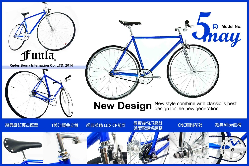 Funla Blue Silver 700C Fixed Gear complete bike