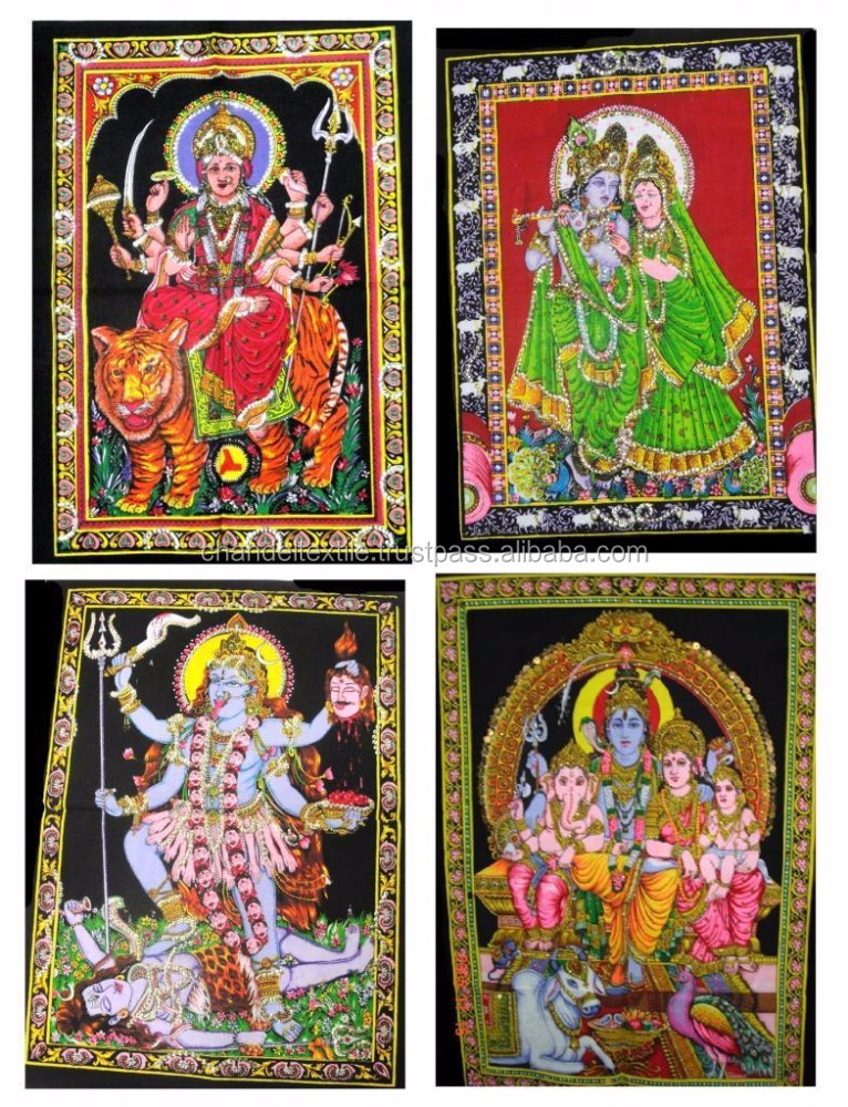 Indian God Krishna Shiva family, Ganesha & Goddess Maa kali laxmi Durga Batik Sequin cotton Tapestry Wall Hangings Wholesale lot