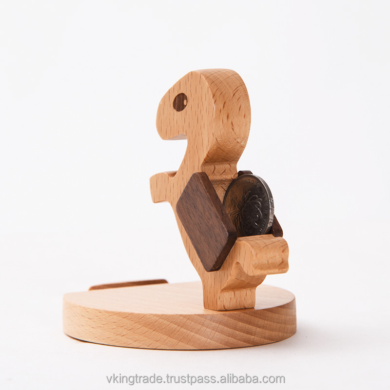 Vking Creative Wooden Square car steering phone holder manufacturer with Cartoon Character Office