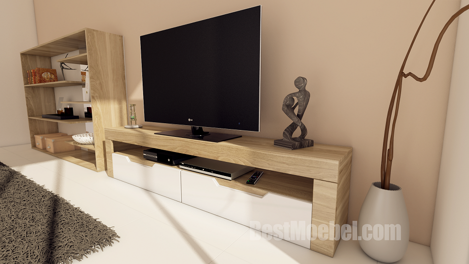 Premium TV Stand Oak Veneered, High Gloss, Painted, Frusitti, Made in EU