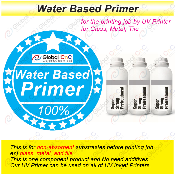 (0114) waterbased primer for printing job of glass, metal, tile by uv printer