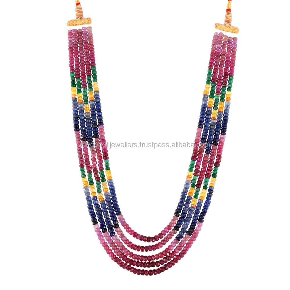 The Gopali Jewellers multi color precious gemstone strand necklace precious strand necklace