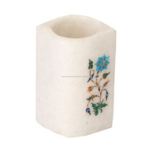 White Marble Inlay Art Pen Holder Stand
