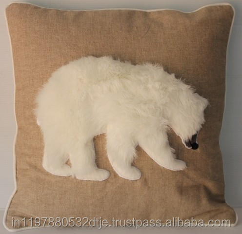 Cushion Cover printed with Fur on top with Bear