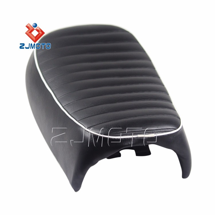 2016 New Pazoma Universal Black Leather Motorcycle Seat Pad Vintage Saddle Cover Racer vintage cafe racer seat For Honda