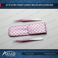 Light Pink Paint Splatter Eyelash Extension Tweezers with Leather Case/Private Label Eyelash Extensions Tweezers/Volume Tweezers