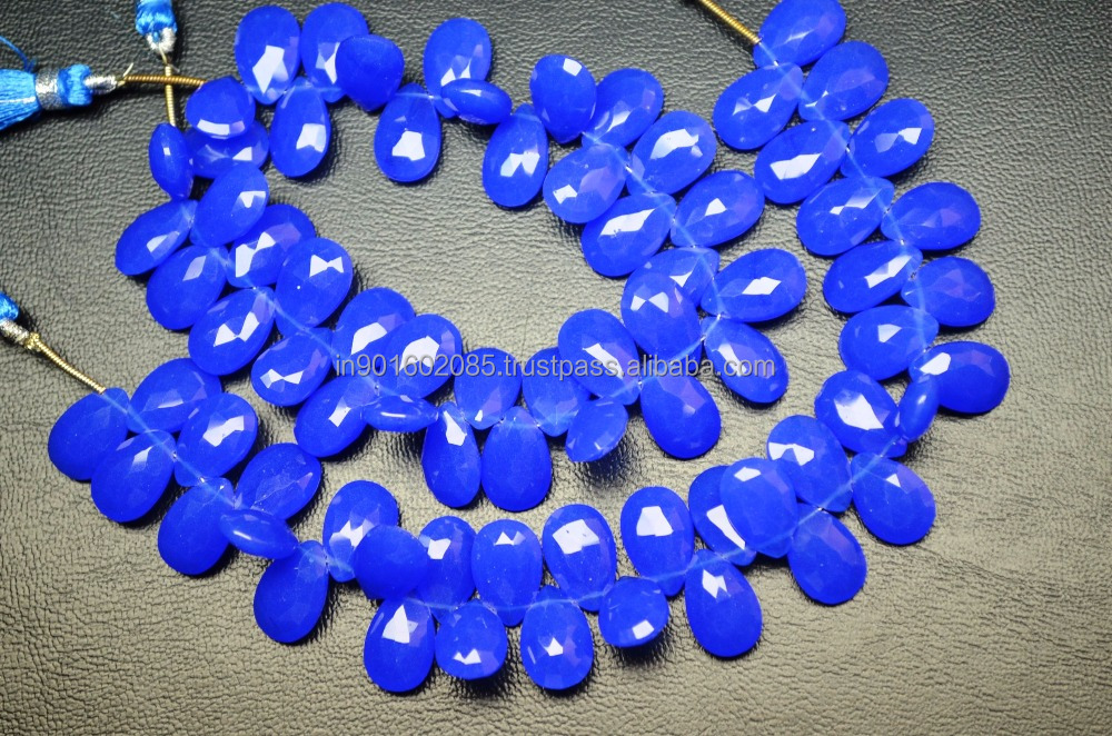 Cobalt Blue Quartz Faceted Flat TearDrop Pear Briolette 7 Inch 9x14mm Beads Strand Cobalt Blue Deep Pear Heart Briolette