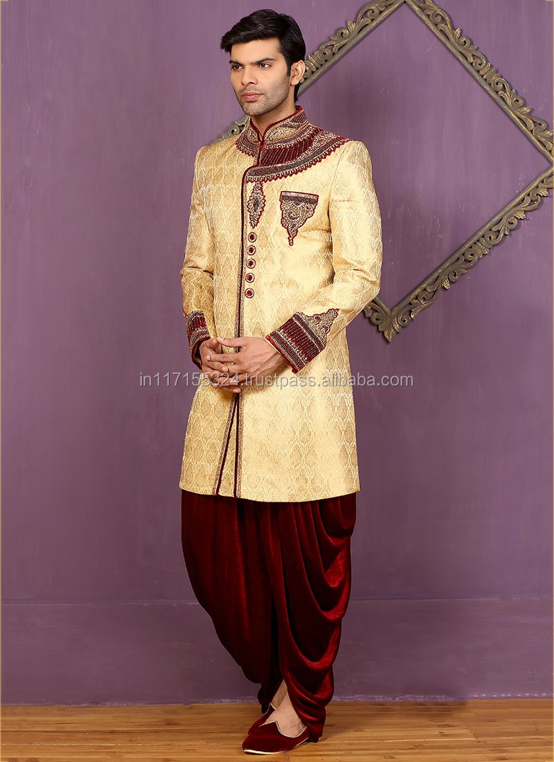 Purple Banarasi Silk Wedding Wear Embroidered Work Sherwani