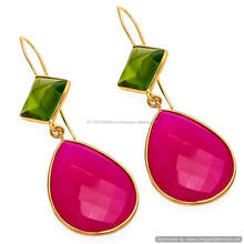 The Gopali Jewellers Beautiful Hot Pink Chalcedony Gemstone Earring Jewelry Manufacturer