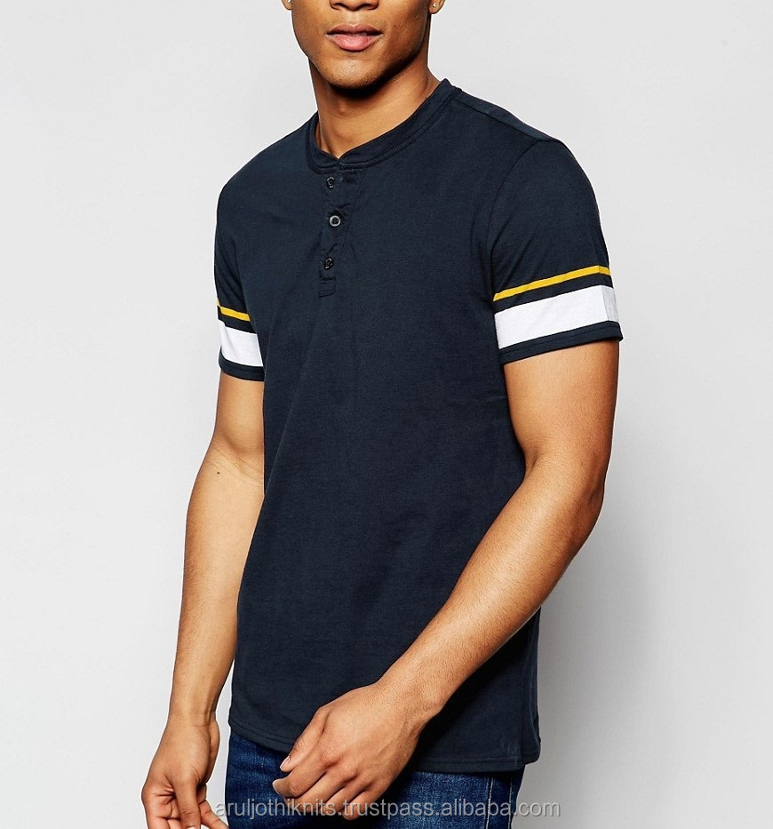 Mens Henley neck t-shirt with striped sleeves