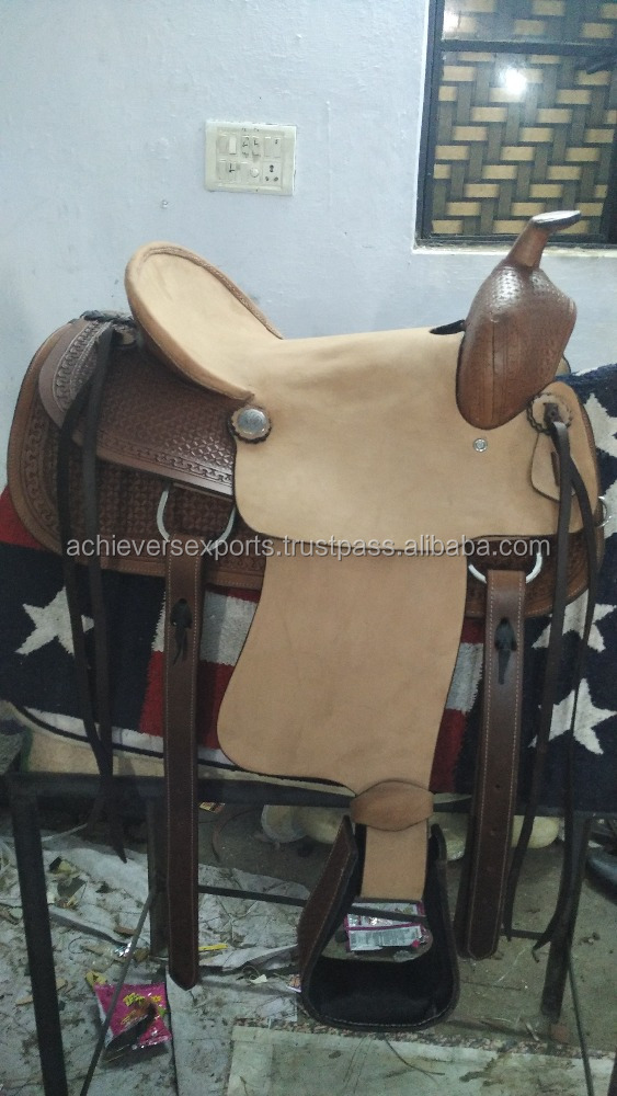 Western Horse Hard Seat Saddle Genuine Leather Rough Out Wooden RHL tree