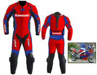 LEATHER MOTORCYCLE RACING SUIT 1 Piece Suits red and blue kawasak suit 1 Piece leather suits 1 piece race suit white Men's