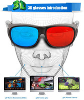 Kawachi Professional Resin Frame 3D Glasses Anaglyph Glasses for Movie Game-Red & Cyan