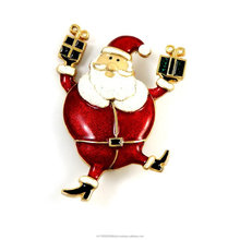 Christmas Jewelry Dancing Fat Santa with gift Brooch Pin