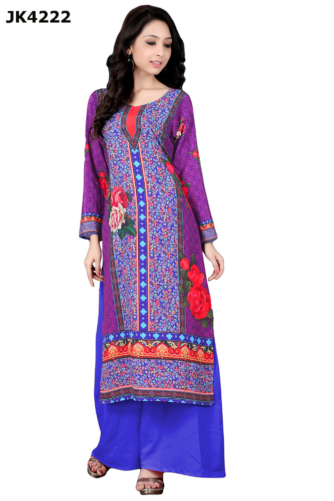 Justkartit Women's Fully Stitched Purple Colour Daily Wear Digital Printed Kurti (Floral Printed Kurti)