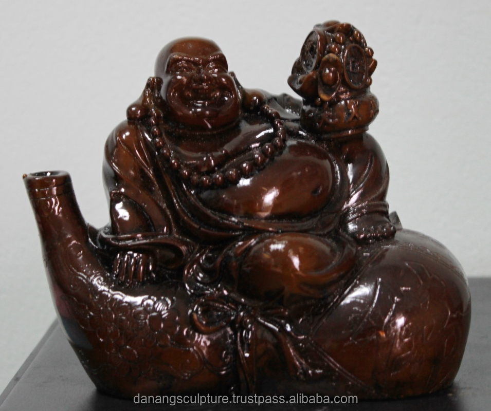 Resin laughing Happy Buddha with wine bottle statue DSF-HR38