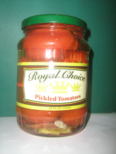 Food safe high quality pickled tomatoes in the glass jar