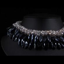 Fashion Black-Smoky Crystal Sparkling Crystal Statement Collar Necklace Elegant Jewelry Gift