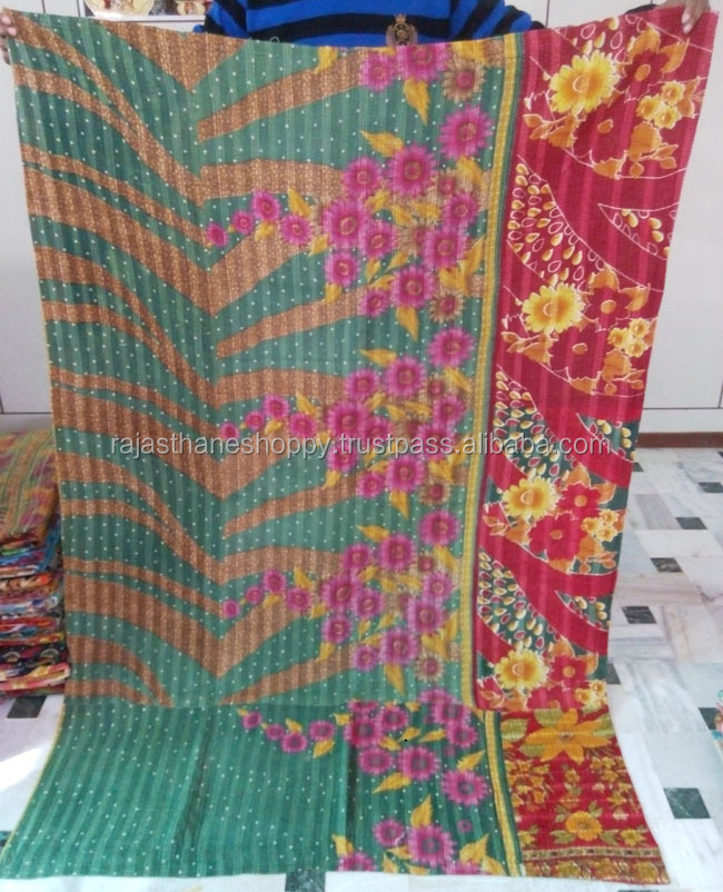 indian old style look vintage kantha Quilt