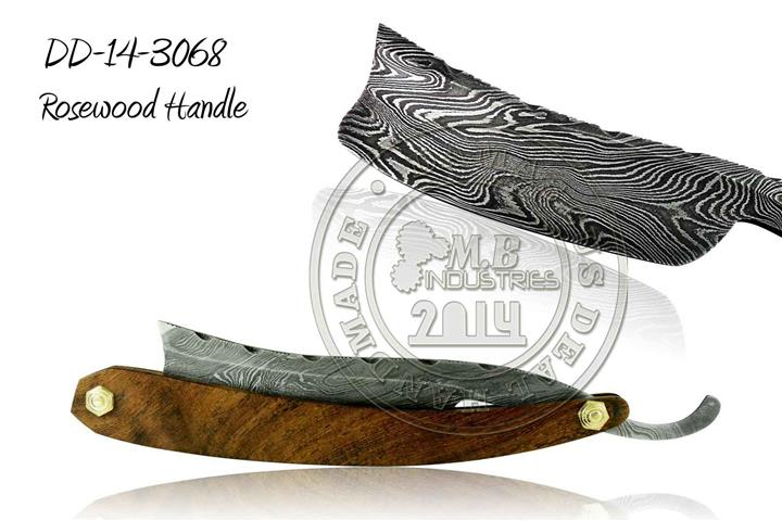 Damascus Steel Straight Razor Rosewood Handle DD-14-3064