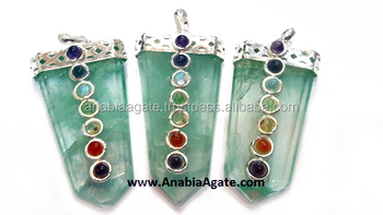 Green Flouride Chakra Flat Stick Pendant With Chakra Small Stones : Wholesale Chakra flat stick pendants And Charm From India