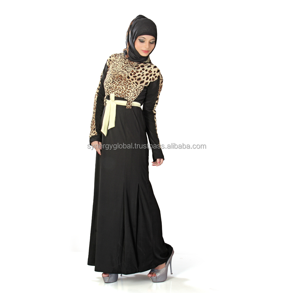 Abayas design long sleeve muslim evening dress with lace sleeve for Islamic women