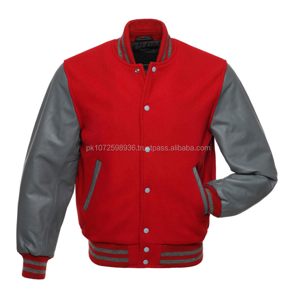 Leather Sleeve wool body college jacket/baseball jacket for mens