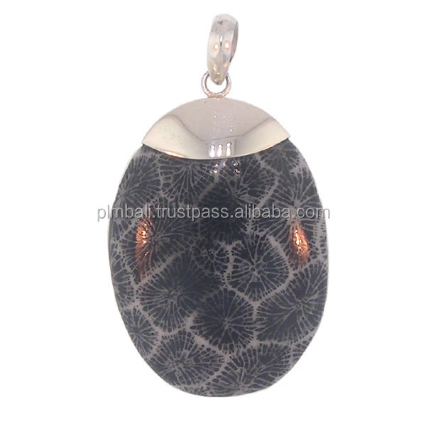 PD003-Sterling silver Bali pendant with black coral stone
