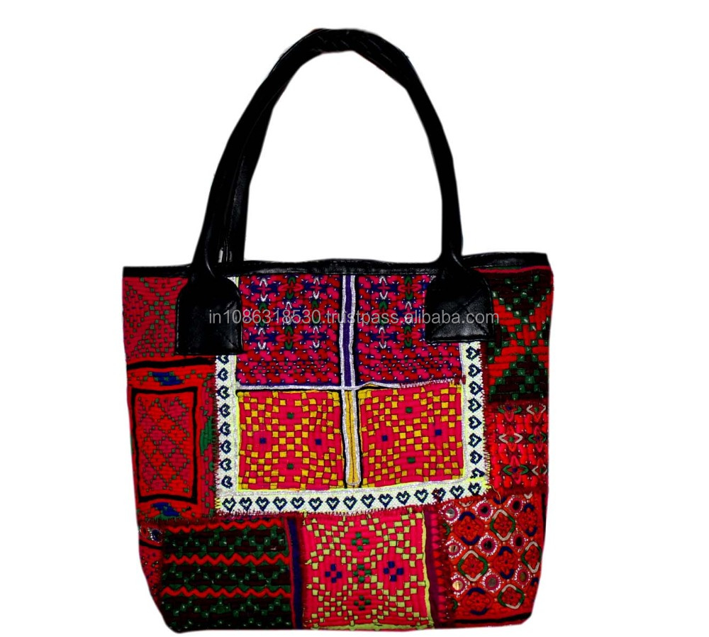 Vintage Banjara Leather handle Shopper Bags Hobo Tote Ethnic Tribal Gypsy Leather Hippie Hobo Cowrie Women tote bag wholesale