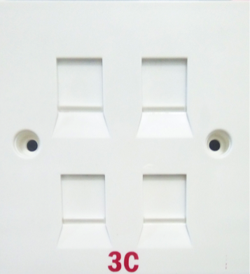 Quad Port Faceplate 3x3