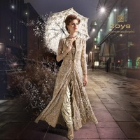 Heavy Embroidered Work Net Designer Dark Cream colour suit