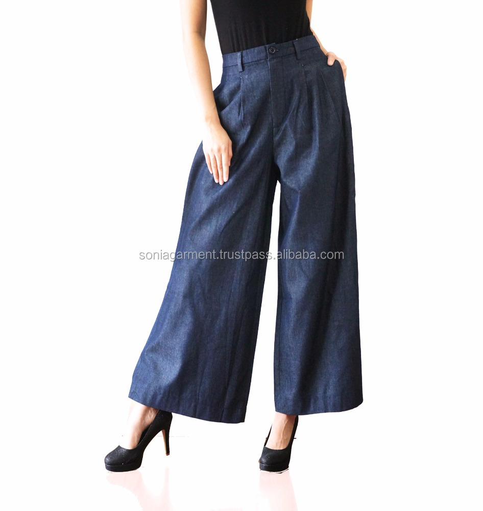 designer jeans denim Cullote Pants for Women comfortable and stretch latest design