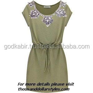 KGN Unique And Stylish Designing Women Party Wear Tunic / Top / Beach Wear Dress with Natural Multi Gemstones