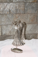 Metallic Side Facing With Pigeon Holding Angel Figurine