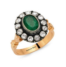 Vintage Rose Cut gold diamond and emerald ring 8K Jewelry