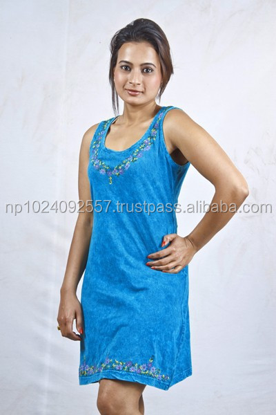 Tunics/Nepal/Skirts/Dresses/Girls/Kurta/Tops / Plain Blue/100% Cotton